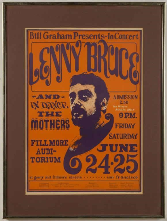 1966 original Lenny Bruce concert poster, from a good slection of vintage posters