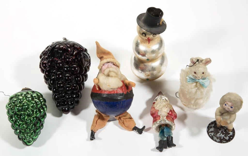 Selection of antique/vintage Christmas ornaments