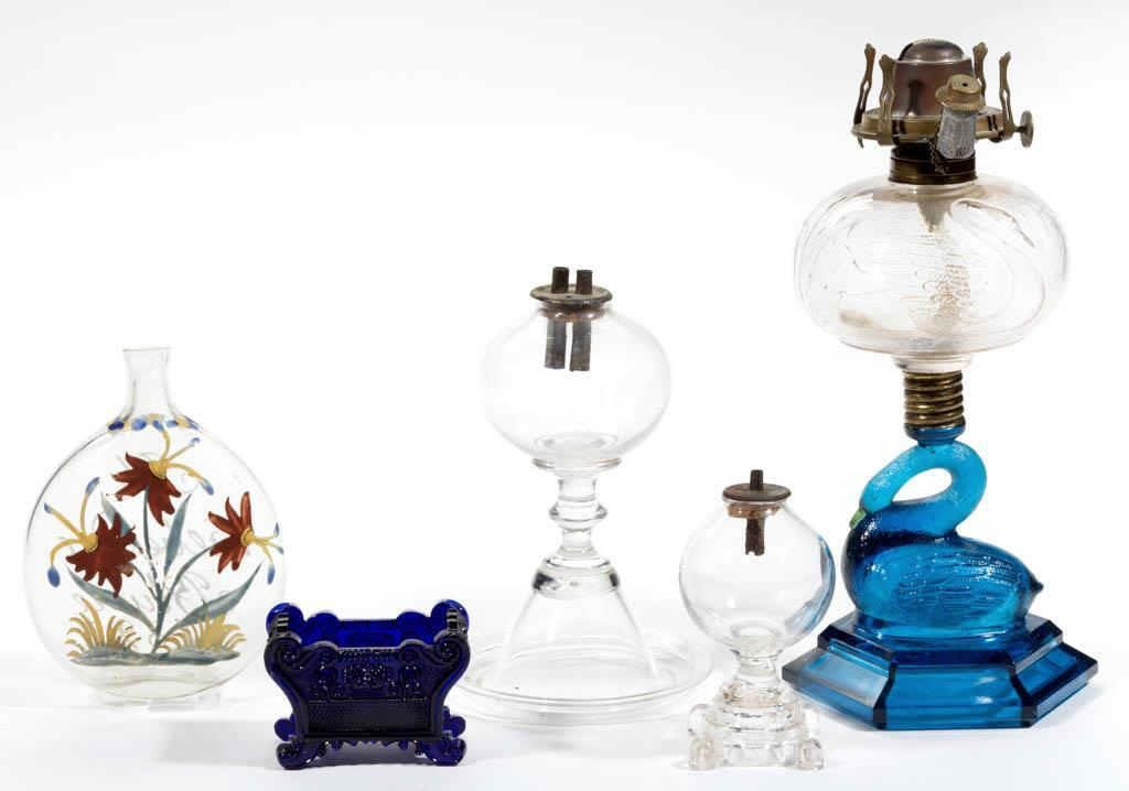Large selection of glass and lighting, including early blown and pressed forms, and EAPG