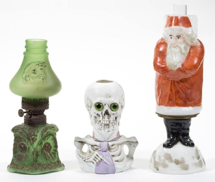 Large selection of miniature lamps, including rare figural forms