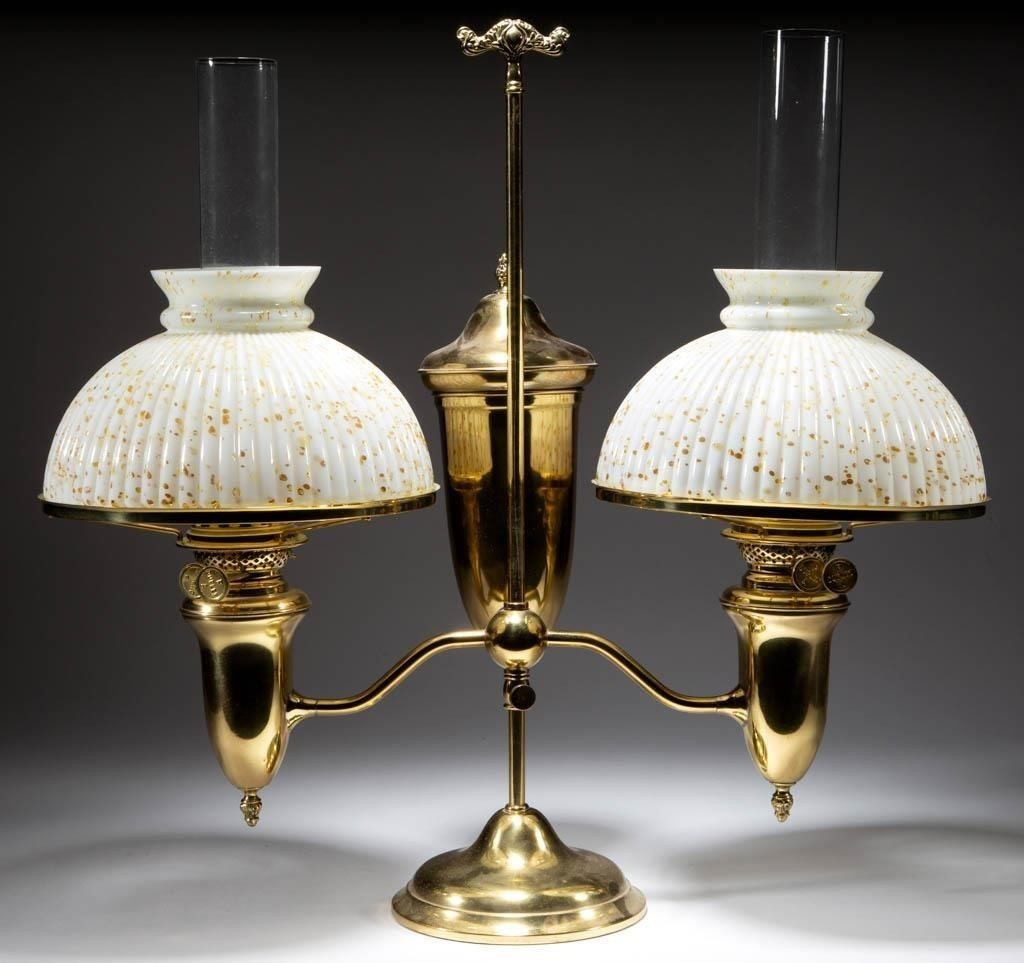 Example of many student lamps, including this Plume and Atwood double-arm.