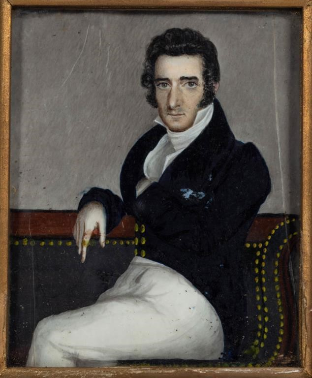 One of a pair of Maryland folk art miniature portraits (c.1825), descended directly in the family