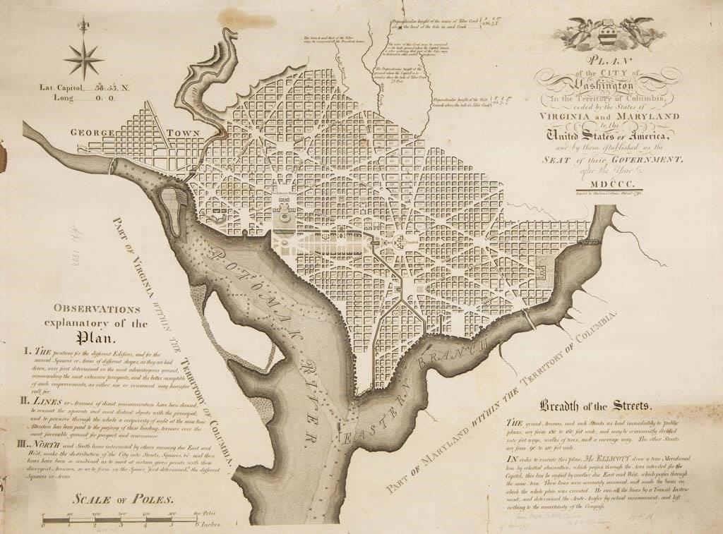 """Andrew Ellicott 1792 """"Plan of the City of Washington in the Territory of Columbia"""", descended directly in the Clopper family"""
