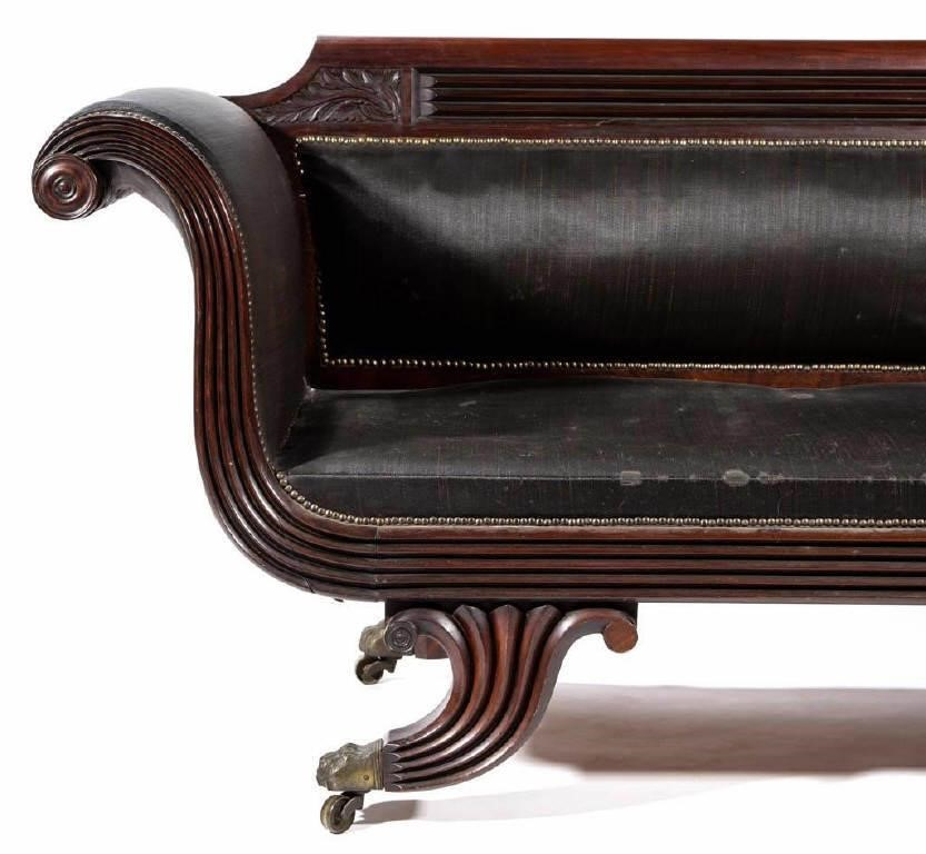Baltimore Classical carved mahogany sofa, attributed to William Camp, descended in the Clopper family of Maryland