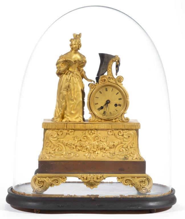 French Classical gilt mantle clock with original dome, descended directly in the Clopper family