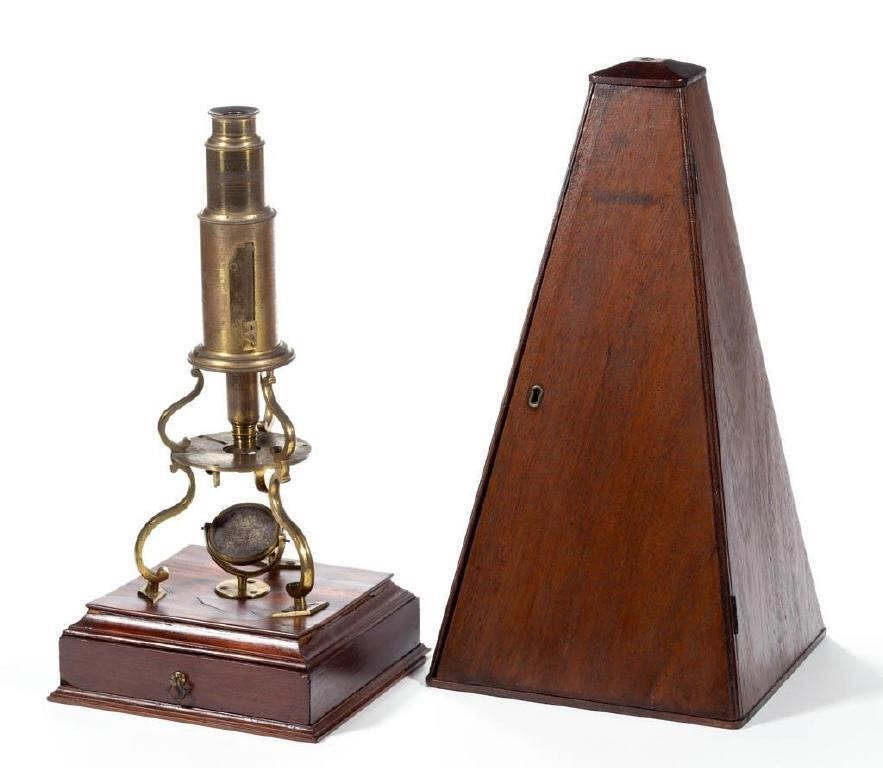 Rare and historic Culpeper-type microscope with original case belonging to botantist William Rich (1800-1864) and used on the 1838-1842 United States Exploring Expedition sponsored by the Smithsonian, descended directly in the family, with exhibition history