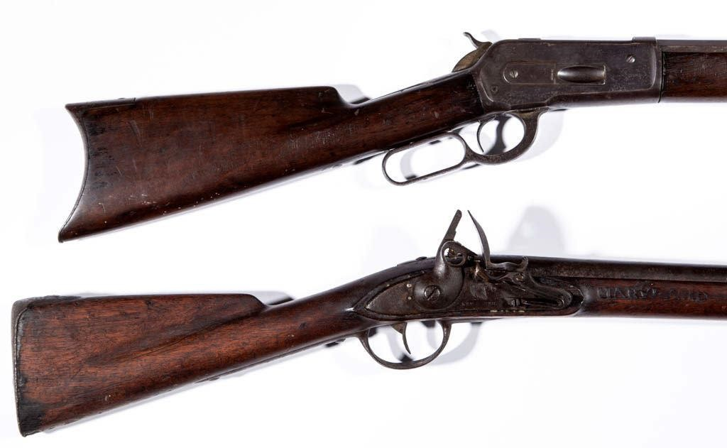 """New Haven flintlock musket marked """"MARYLAND"""" to stock, possible War of 1812 association with a Winchester Model 1886 rifle, both descended directly in the family"""