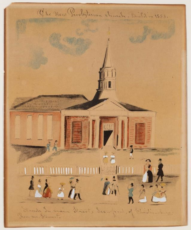Lewis Miller watercolor and ink on paper folk art drawing of the Presbyterian Church in Christiansburg, VA, dated 1852