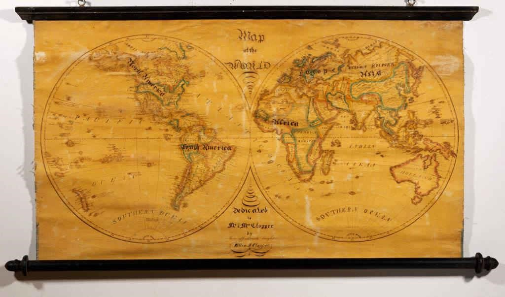Schoolgirl watercolor and ink on paper map of the world (c.1828), signed and inscribed by Ellen Clopper, then a student at St. Joseph's Academy in Emmitsburg, MD, descended directly in the family
