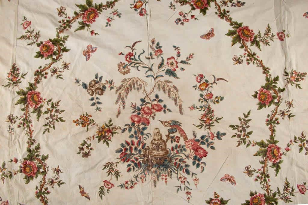 Detailof a fine Maryland chintz bedcover