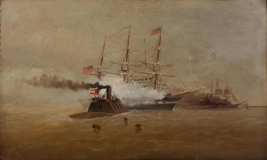 """Alexander Charles Stuart (1831-1898) Civil War naval battle scene, oil on Academy board, depicting the ironclad, CSS Virginia, against the frigate, USS Congress, on March 8, 1862 at the Battle of Hampton Roads, 14 1/2"""" x 24"""" sight, 20 ¼"""" x 29"""" OA"""