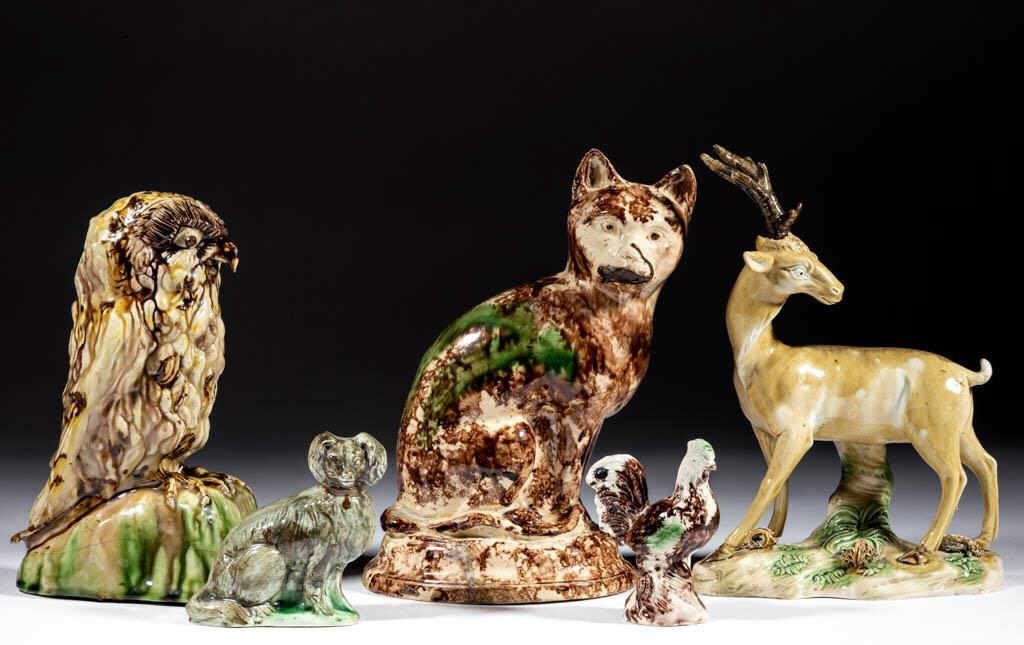 Good selection of late 18th/early 19th century Staffordshire figures, deaccessioned by the Colonial Williamsburg Foundation to benefit the Collections and Acquisitions Funds