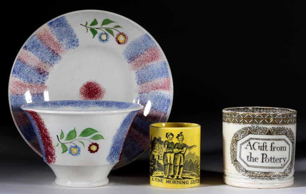 Selection of 19th-century English ceramics, including spatterware and children's mugs
