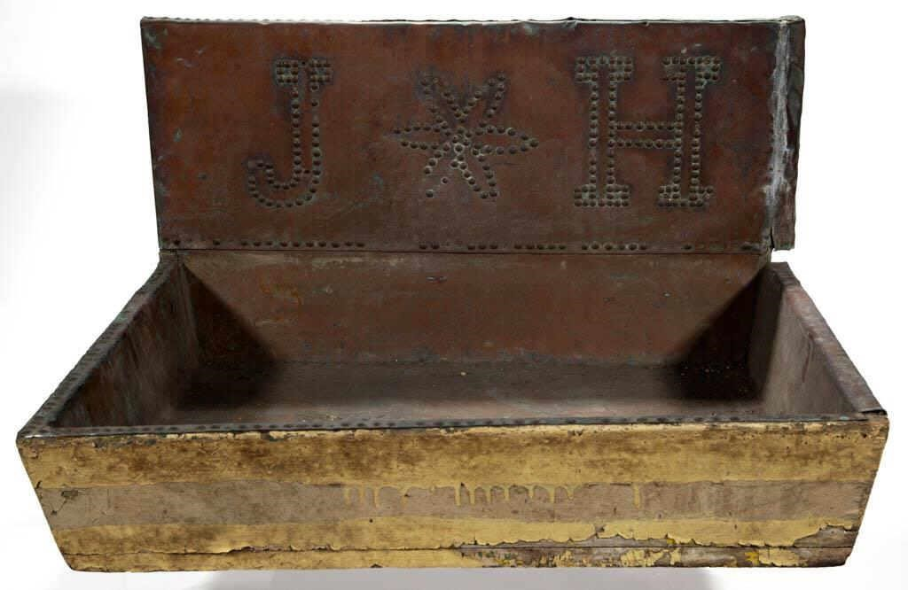"""19th-century copper sink from """"The Oaks,"""" home of famed Confederate cartographer, Jedediah Hotchkiss (1828-1899), in Staunton, VA"""