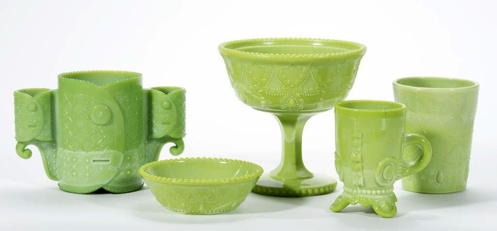 From the Freed collection of Greentown glass