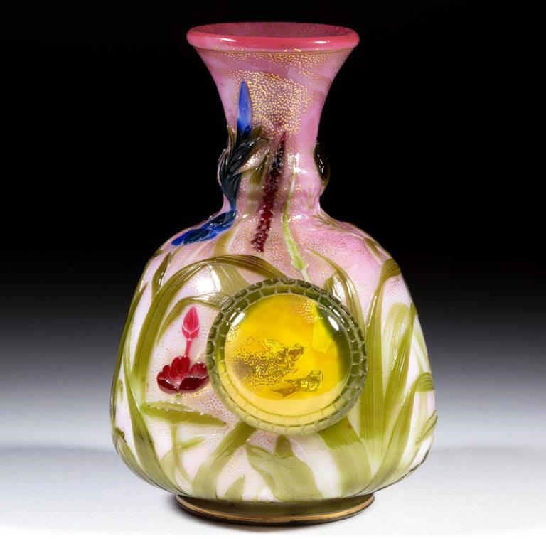 Important Thomas Webb Chien Lung / Applied Pads Cameo Art Glass Bottle Vase