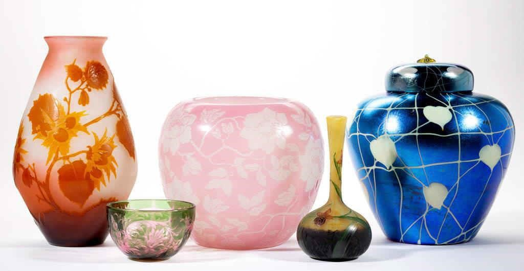Selection of American and European art glass.