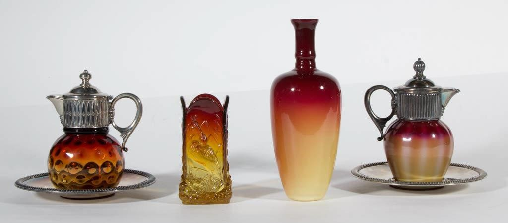 Fine Victorian Art Glass, including a rare Plated Amberina syrup pitcher with original mount and underplate.