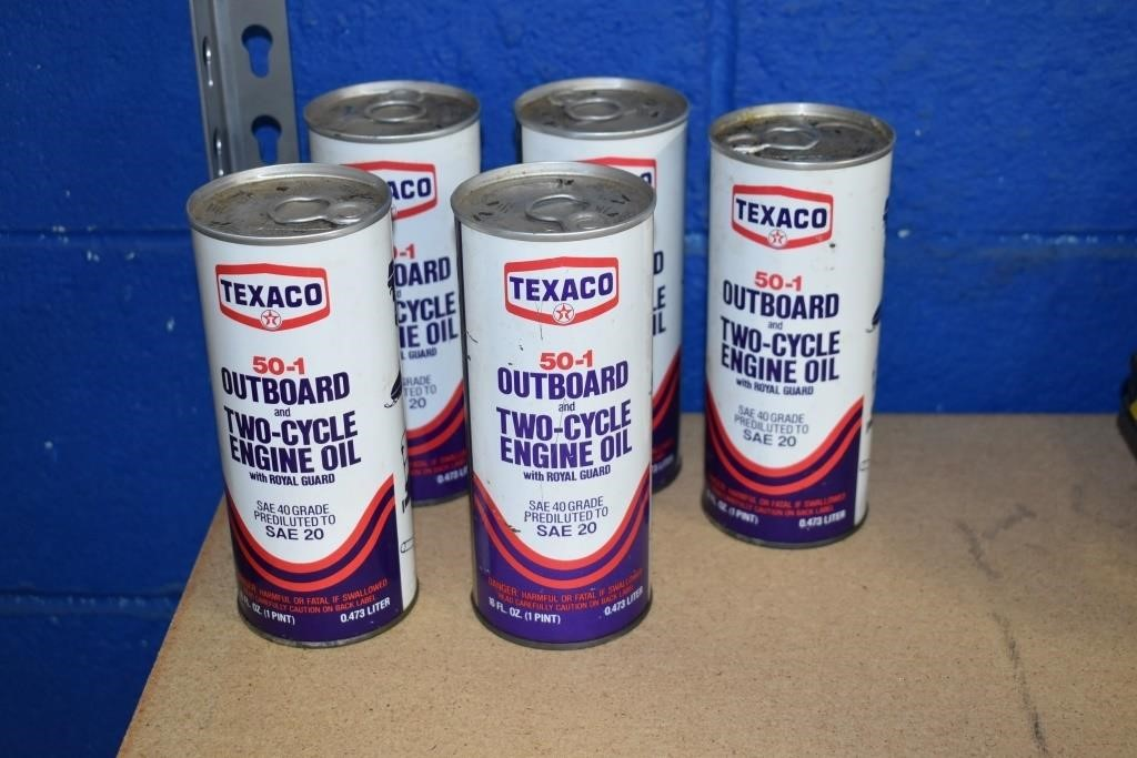 Texaco Outboard Motor cans