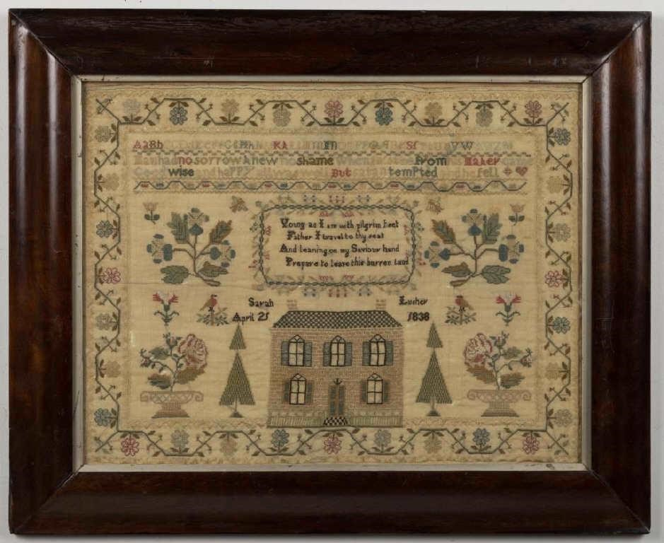 "Fine pictorial needlework sampler, silk on linen, signed ""Sarah Lusher / 1838"", from the Hunter collection of samplers"