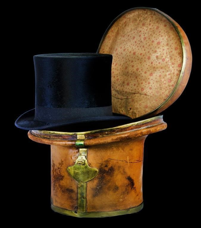 Victorian beaver top hat with original leather traveling case