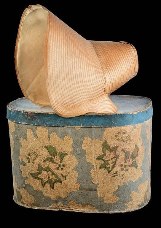 Leghorn bonnet ca. 1830 with original hat box, Maryland family provenance