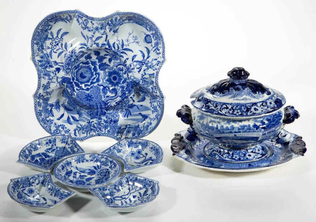 A selection of 18th and 19th century English ceramics including early transferware such as a pearlware pickle tray/condiment dish with five removeable trays and a small tureen and undertray with an American view of Philadelphia