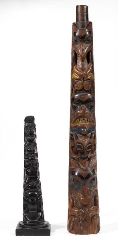 Northwest Coast Native American carved model totem poles, one argillite, the other paint-decorated wood, each early 20th century