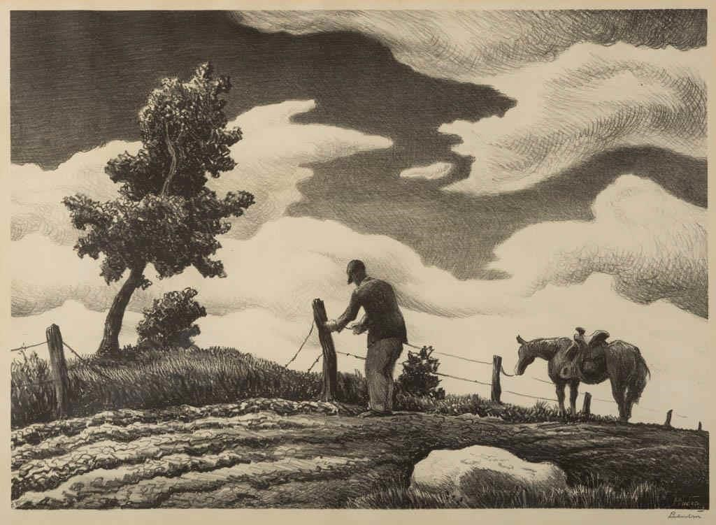 "Thomas Hart Benton (American, 1889-1975) lithograph, ""The Fence Mender"" (c. 1940), pencil signed in margin lower right"
