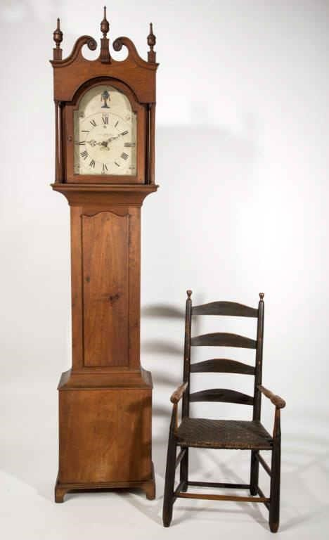 Rockingham Co., Shenandoah Valley of Virginia painted ladderback split-bottom arm chair and a Caleb Davis (Woodstock, VA) walnut tall-case clock, each descended directly in the families of the original owners, from a good selection of Shenandoah Valley of Virginia furniture and decorative arts