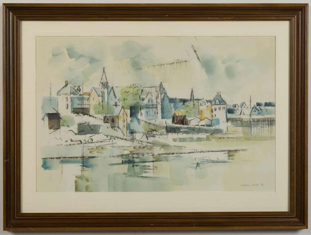 "Lamar William Dodd (Georgia, 1909-1996) New England coastal scene, watercolor on paper, identified verso as Stonington, CT, dated ""1953"""