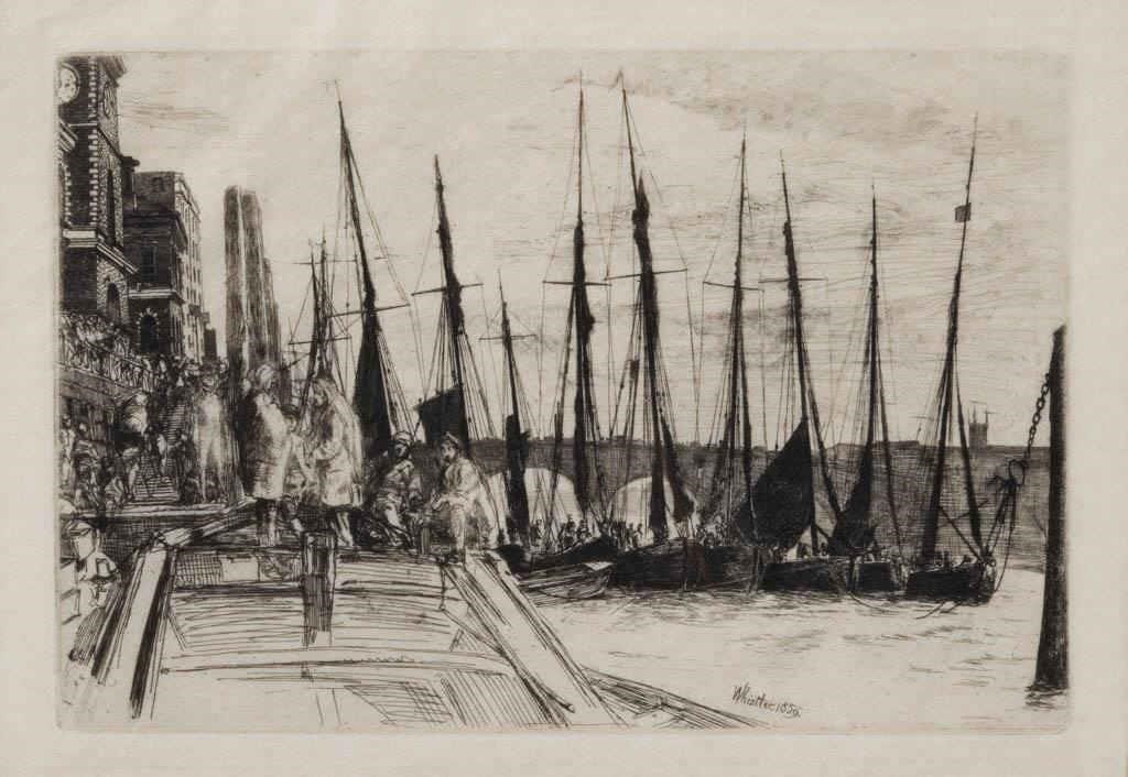 "James Abbot McNeill Whistler (American, 1834-1903) ""Billingsgate"" etching, a fine impression, 6"" x 8 7/8"" plate"