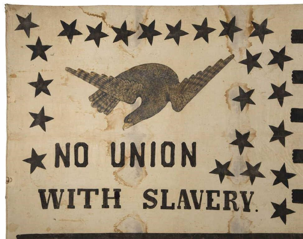 Detail of a rare and historically important Abolitionist flag banner (c. 1861)