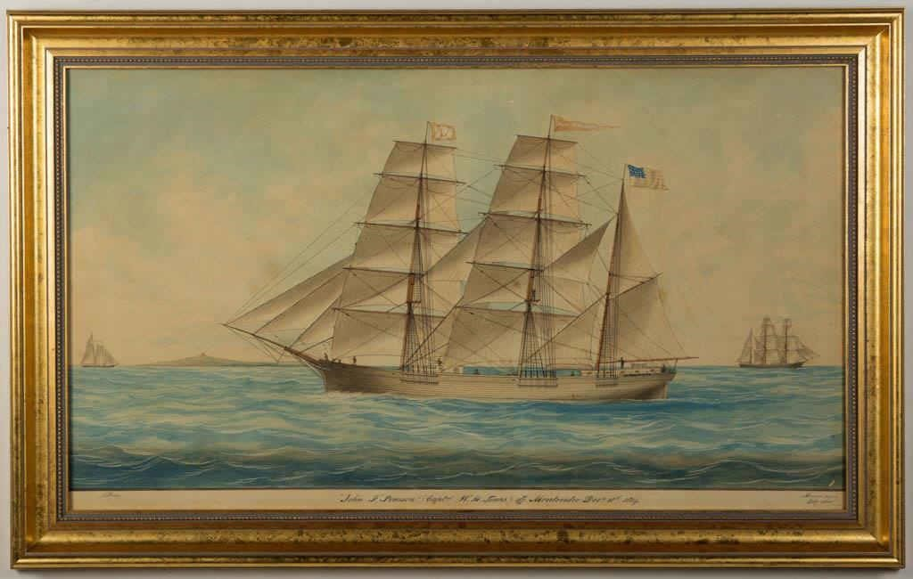 "J. Dodge (19th century) folk art watercolor painting of the ship, ""John F. Patterson"", signed and dated 1865, ex. Kelly Kinzle"