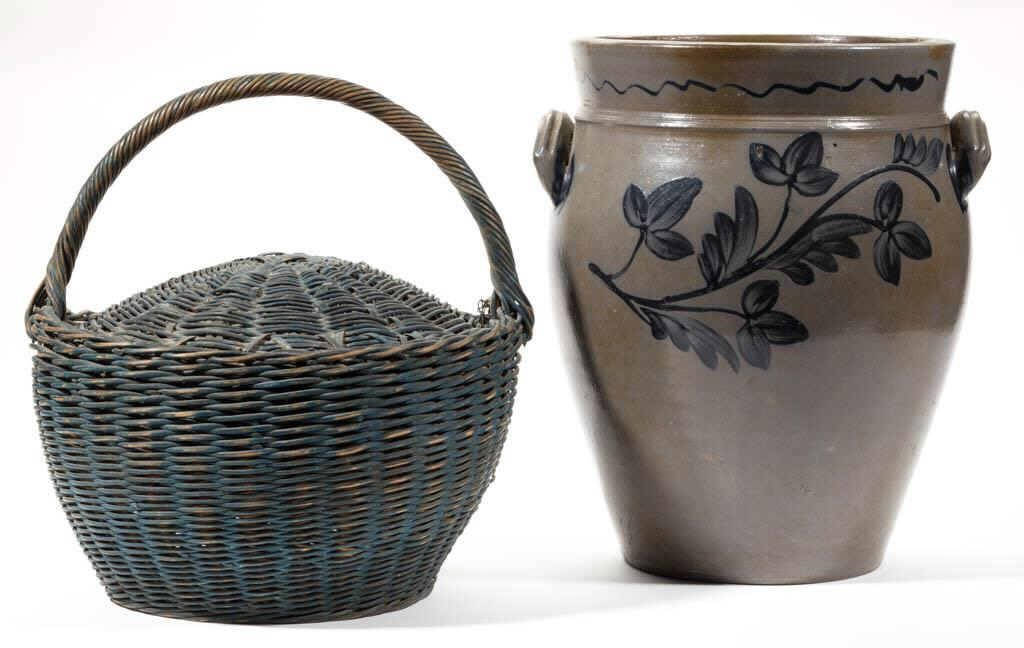Shenandoah Valley decorative arts, including a fine Rockingham Co. stoneware jar attributed to Heatwole or Coffman, and a painted pulled-rod basket and cover