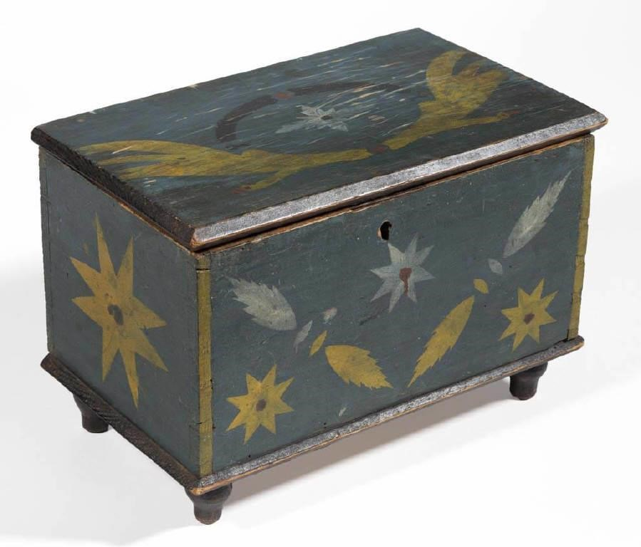 Rare Stirewalt family (New Market, VA) paint-decorated yellow pine diminutive box, descended in the Helsely/Roller family of Rockingham and  Shenandoah Counties