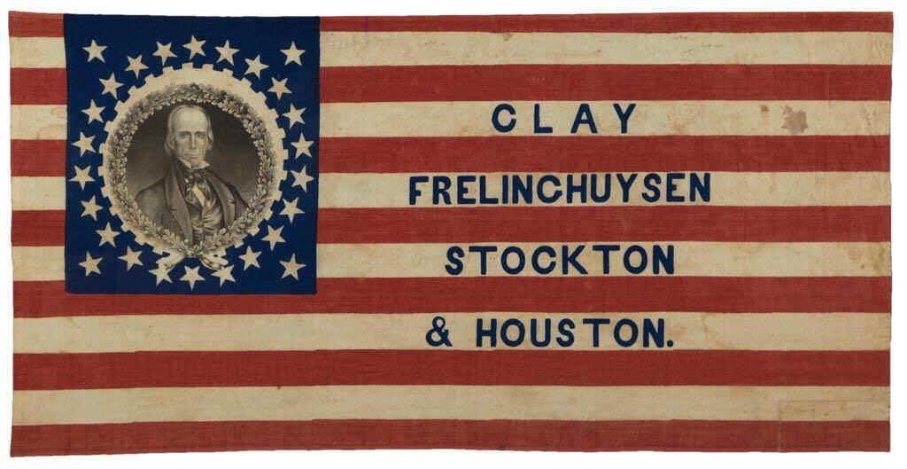 Fine Henry Clay Whig Party 1844 campaign flag banner, from an excellent selection of historical banners and flags from a private collection
