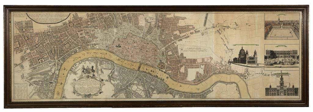 Heirs of Johann Baptiste Homann map of London (1736), deaccessioned by the Colonial Williamsburg Foundation with proceeds to benefit the Collections and Acquisitions Funds
