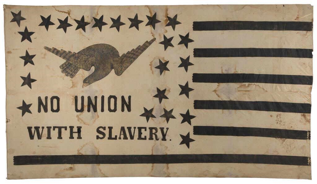 "Rare and historically important Abolitionist flag banner (c. 1861) of impressive size, 60"" x 106"", featured on ""History Detectives"" (Episode 3, 2004), Rochester, NY history"