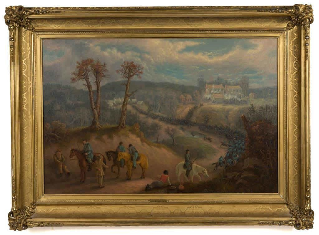 "David Edward Cronin (American, 1839-1925) oil on canvas ""Attack on a Confederate Stronghold"", signed and dated 1866, depicts an attack by the NY 1st Reg. cavalry carrying out a surprise raid at Charles City Courthouse in late 1863, ex-Robert Hinklin and Kennedy Galleries, 23 ½"" x 35 ½"" sight, 33 ¼"" x 45 1/4'"" OA"