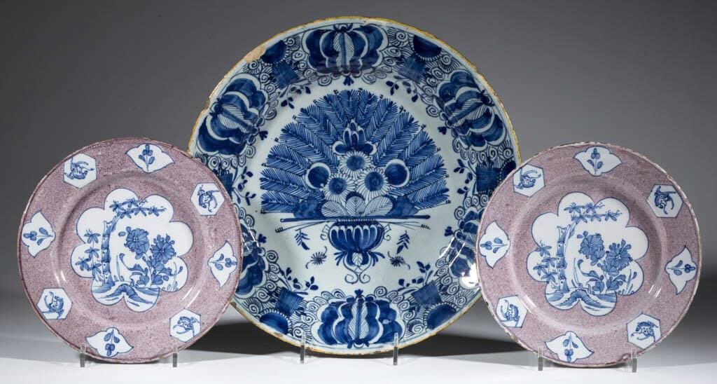 Beautiful early Dutch and English delft/tin-glazed earthenware