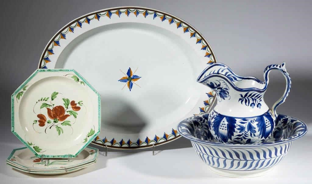 A fine selection of painted English pearlware and creamware