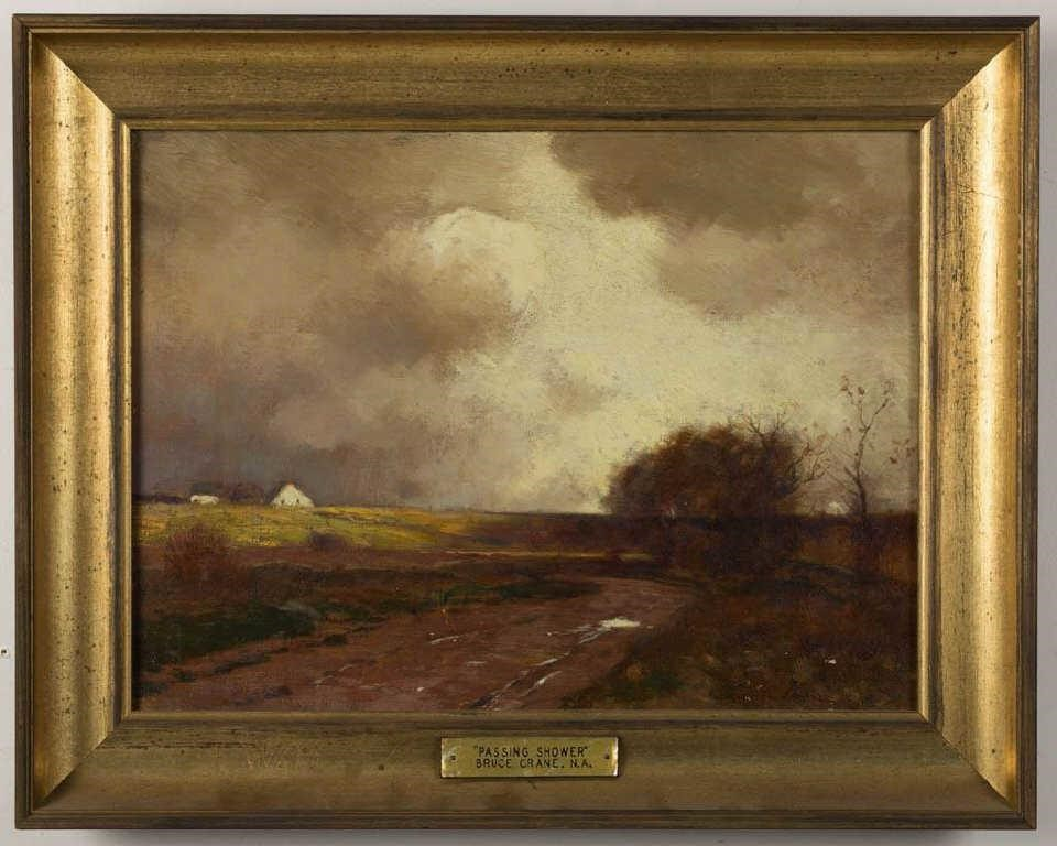 "Bruce Crane (American, 1857-1937) oil on canvas Tonalist landscape, titled ""Passing Shower"", 12"" x 16"" sight"