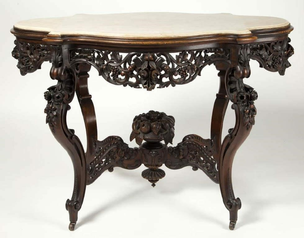 Meeks attributed carved rosewood marble-top center table, in fine condition with historic surface