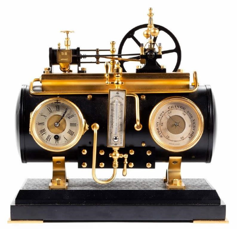 French animated industrial clock (c.1885), modeled on a horizontal steam boiler