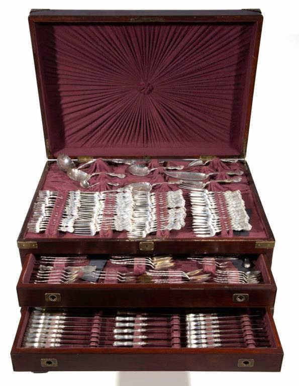 Extensive Whiting-Gorham sterling flatware service with original fitted case