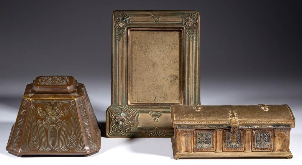 From a selection of Tiffany bronze desk accessories
