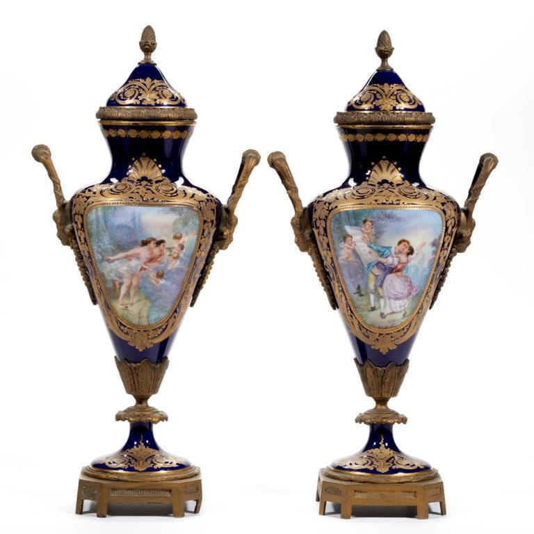 Pair of Sevres urns with ormolu mounts