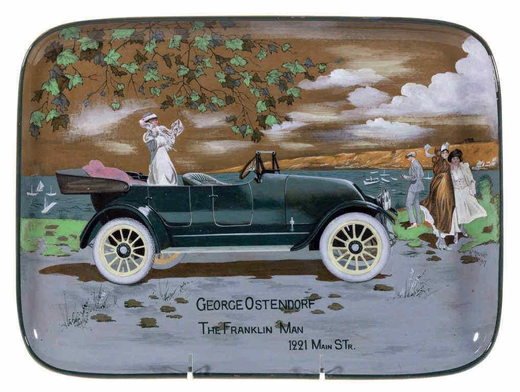 Unique Buffalo Pottery advertising tray, from the estate of Holton Rosenquist, Bradford, IL