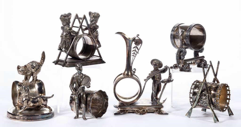 From a collection of 19th-century silver-plate figural napkin rings